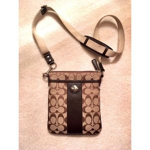 Authentic Coach Crossbody bag with leather trim